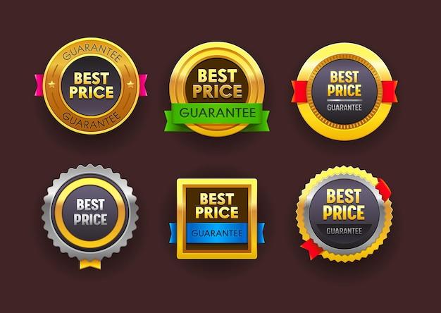 Conjunto de rótulos de garantia do melhor preço