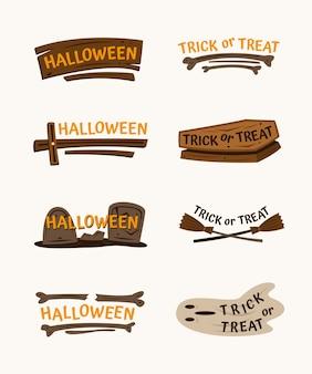 Conjunto de rótulos de halloween desenhados à mão com elementos assustadores