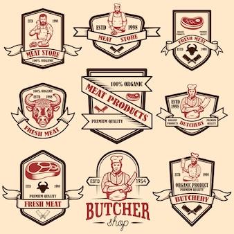 Conjunto de rótulos de loja de carne vintage. elemento de design para logotipo, emblema, sinal, cartaz.