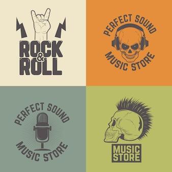 Conjunto de rótulos de loja de música em fundo colorido