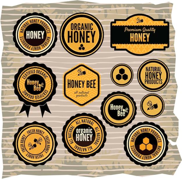 Conjunto de rótulos de mel e abelha