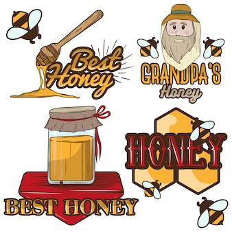 Conjunto de rótulos de mel e logotipo de apicultura