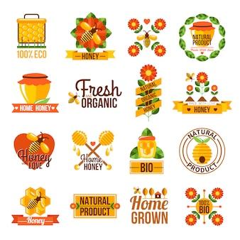 Conjunto de rótulos de mel natural orgânico