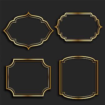 Conjunto de rótulos de moldura vintage dourado