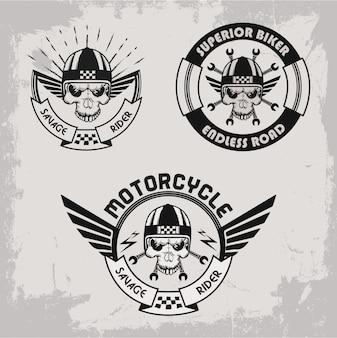 Conjunto de rótulos de motociclista mão desenhada