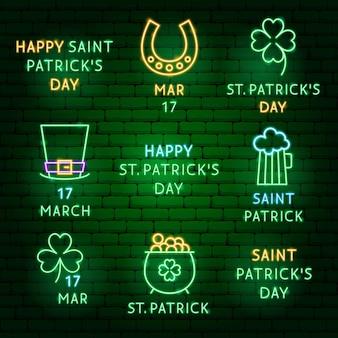 Conjunto de rótulos de néon do dia de saint patrick. ilustração em vetor de promoção de férias.