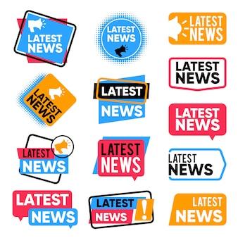 Conjunto de rótulos de notícias mais recentes. palavras promocionais de informação. vetor de anúncio de boletim informativo