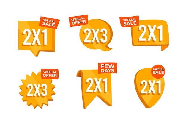 Conjunto de rótulos de ofertas de vendas de compras