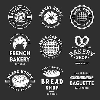 Conjunto de rótulos de padaria, emblemas, emblemas e logotipo