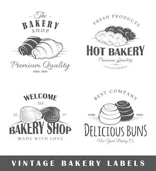 Conjunto de rótulos de padaria vintage