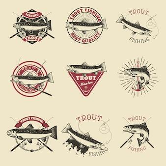 Conjunto de rótulos de pesca de truta. clube de pesca, modelos de emblemas de equipe.