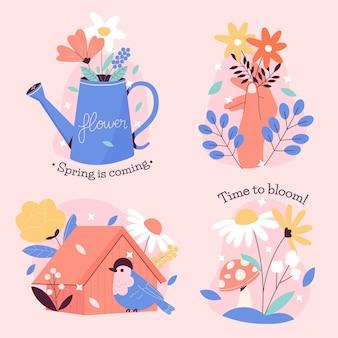 Conjunto de rótulos de primavera criativa