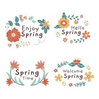 Conjunto de rótulos de primavera desenhados à mão