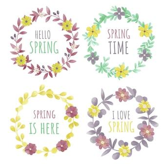 Conjunto de rótulos de primavera em aquarela