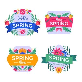 Conjunto de rótulos de primavera mão desenhada