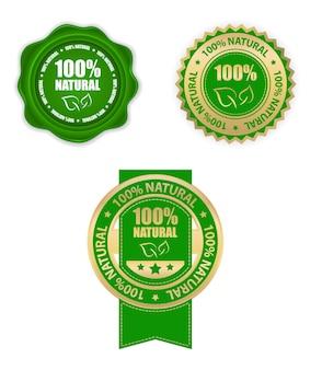 Conjunto de rótulos de produtos 100% naturais