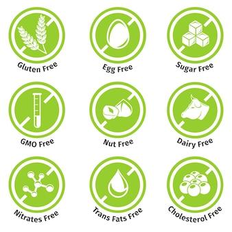 Conjunto de rótulos de produtos anti-alérgicos