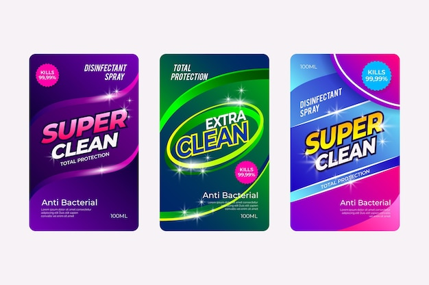 Conjunto de rótulos de produtos de limpeza viricidas e bactericidas