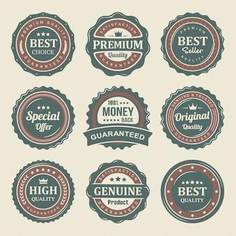 Conjunto de rótulos de produtos de qualidade premium de selo vintage