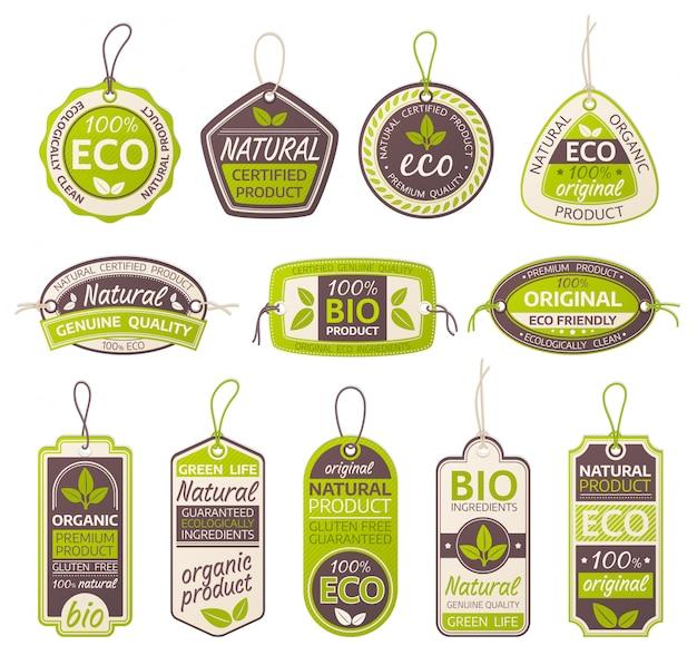 Conjunto de rótulos de produtos ecológicos, bio e naturais