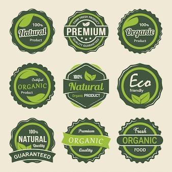 Conjunto de rótulos de produtos premium orgânicos