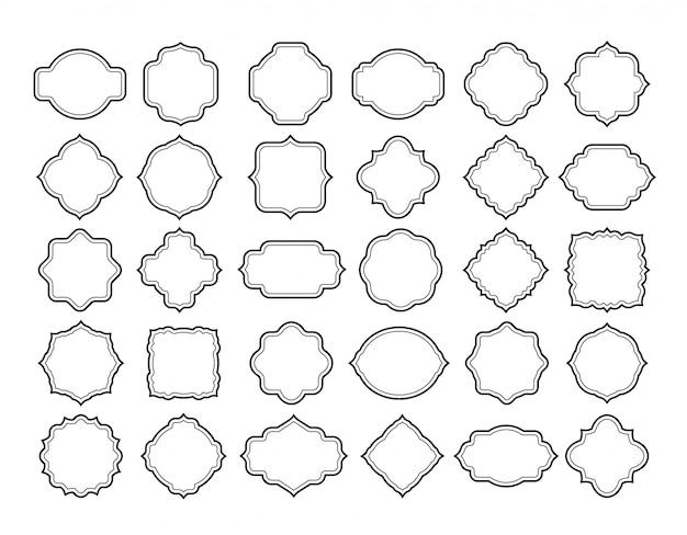 Conjunto de rótulos de quadro de linha. formas de distintivo ornamentado em branco vintage. etiqueta clássica branca retrô, coleção de vetores de bordas de decoração de cartão de convite