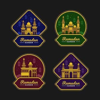 Conjunto de rótulos de ramadan design plano