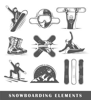 Conjunto de rótulos de snowboard vintage