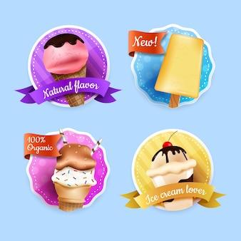Conjunto de rótulos de sorvete realista