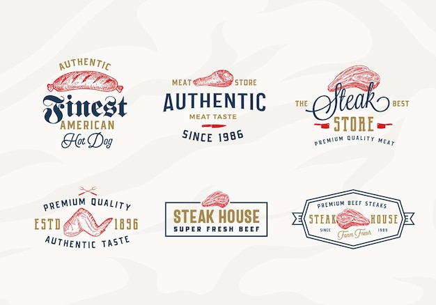 Conjunto de rótulos de tipografia vintage, emblemas ou modelos de logotipo para churrascaria ou loja de carnes