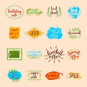 Conjunto de rótulos de venda de diferentes sinais de publicidade promocional e elementos em estilo retro