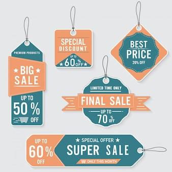 Conjunto de rótulos de venda e banner