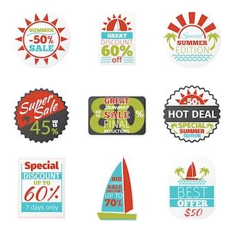 Conjunto de rótulos de vendas de verão