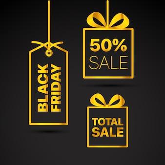 Conjunto de rótulos de vetor de sexta-feira negra clipart de vetor de venda de sexta-feira negra