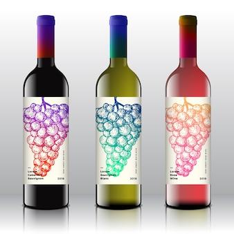 Conjunto de rótulos de vinho tinto, branco e rosa de qualidade premium em garrafas realistas.