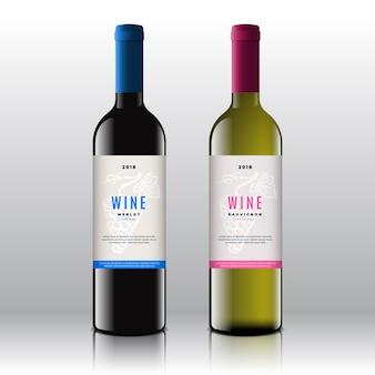 Conjunto de rótulos de vinho tinto e branco de qualidade premium em garrafas realistas. limpo e moderno com cacho de uvas desenhadas à mão, folha e tipografia mínima elegante.