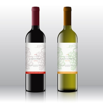 Conjunto de rótulos de vinho tinto e branco de qualidade premium em garrafas realistas. limpo e moderno, com mão desenhada cacho de uvas, folha e tipografia retro.