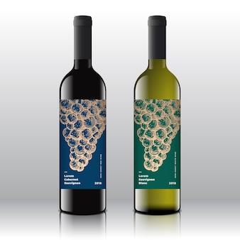 Conjunto de rótulos de vinho tinto e branco de qualidade premium em garrafas realistas.