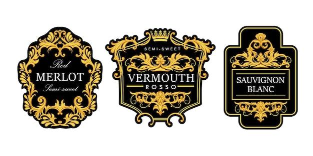 Conjunto de rótulos de vinhos elegantes com pergaminhos dourados