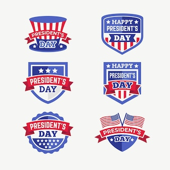 Conjunto de rótulos do dia do presidente