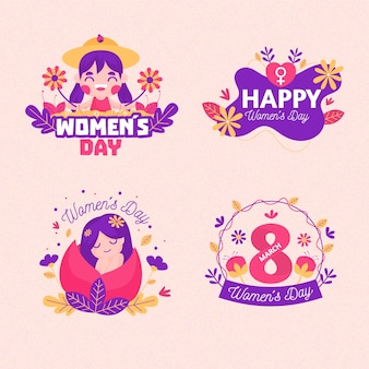 Conjunto de rótulos do dia internacional da mulher