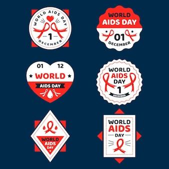 Conjunto de rótulos do dia mundial da aids