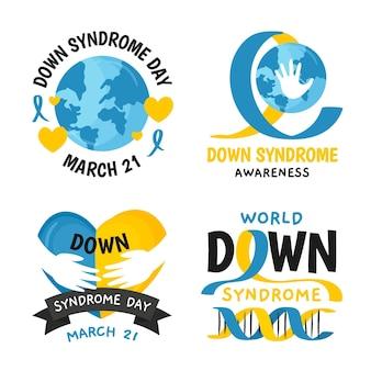 Conjunto de rótulos do dia mundial da síndrome de down
