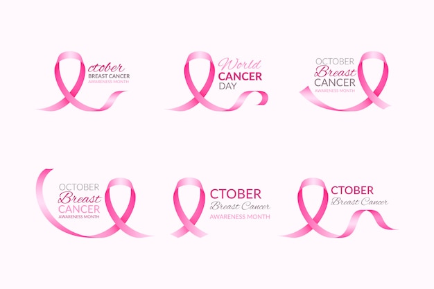 Conjunto de rótulos do mês de conscientização do câncer de mama