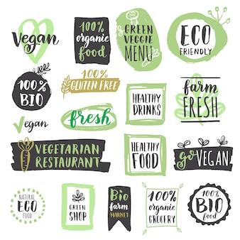 Conjunto de rótulos e etiquetas de alimentos veganos orgânicos saudáveis frescos