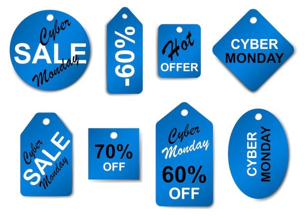 Conjunto de rótulos e etiquetas de venda cibernética nas cores preta e azul