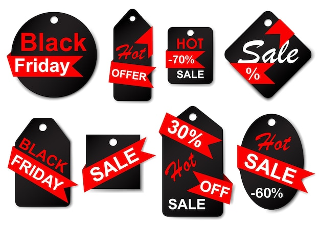 Conjunto de rótulos e etiquetas de venda em cores pretas com fitas vermelhas