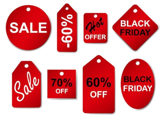 Conjunto de rótulos e etiquetas de venda em cores vermelhas Vetor Premium