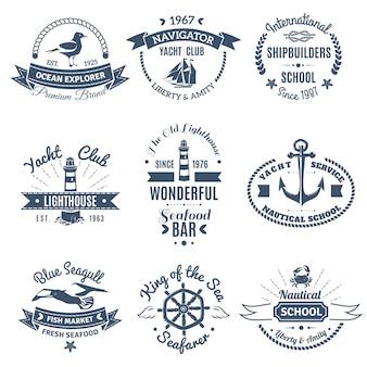 Conjunto de rótulos e logotipos marinhos náuticos