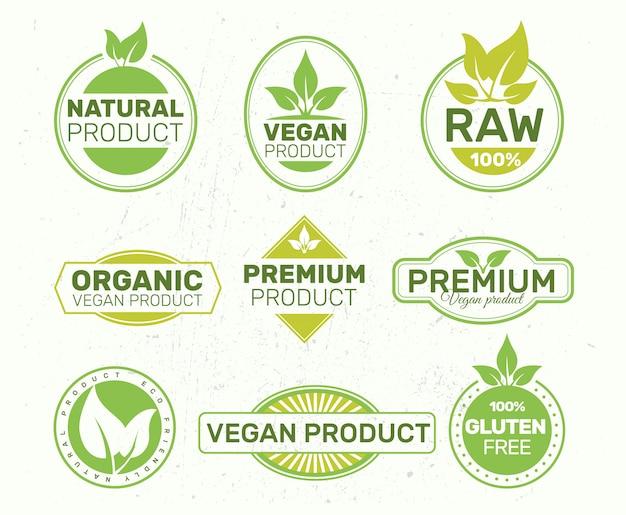 Conjunto de rótulos ecológicos, orgânicos, frescos e saudáveis.